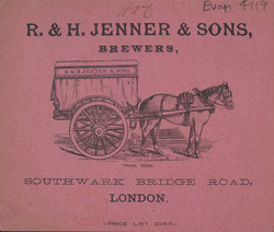 Advert for RH Jenner & Son, brewers